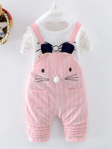 Girls' Striped Cat Long Sleeve Clothing Set