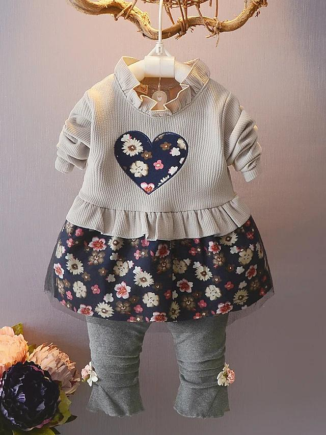 Girls' Floral Heart Long Sleeve Clothing Set