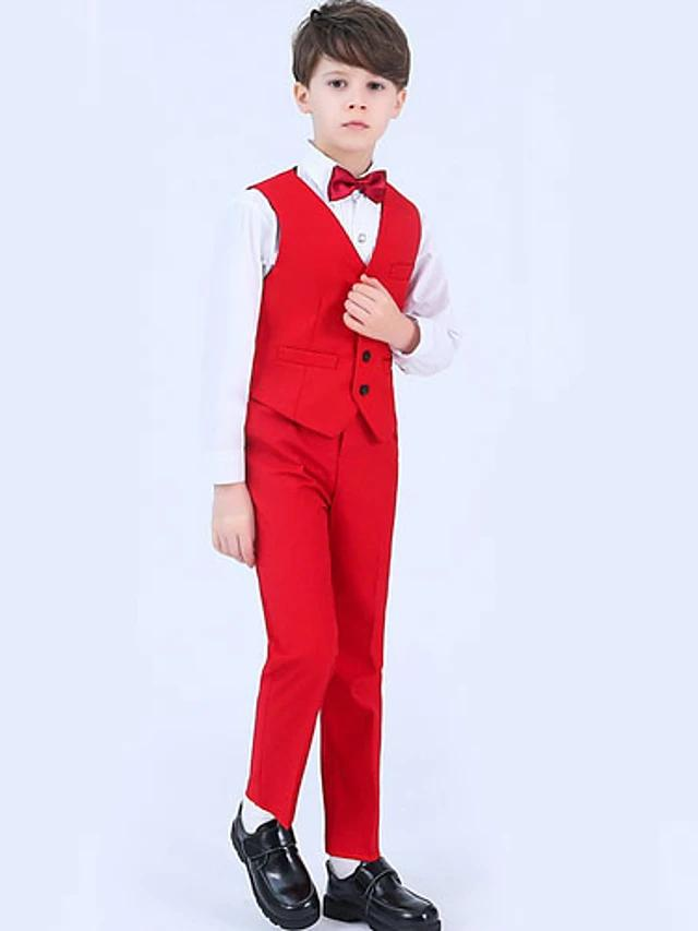 Kids Boys' Basic Solid Colored Long Sleeve Clothing Set Red - davidissimo