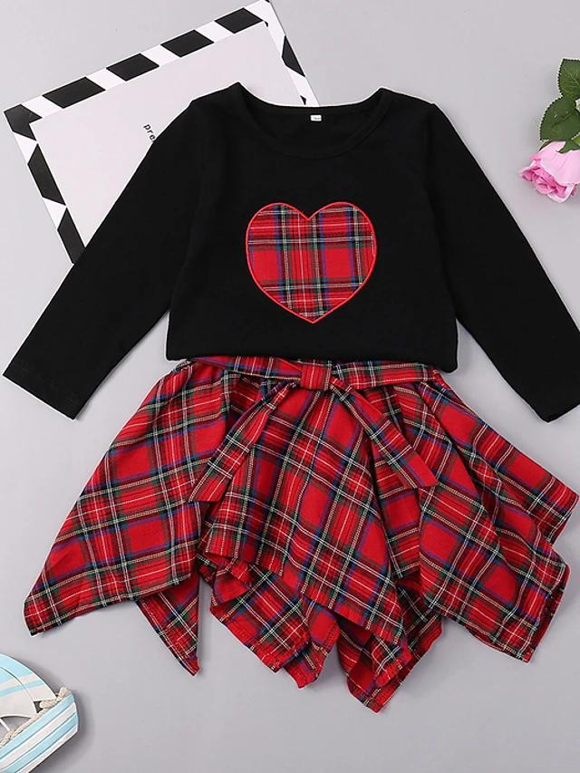 Girls' Sweet Heart Long Sleeve Clothing Set