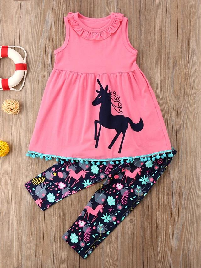 Girls' Fairy Unicorn Sleeveless Clothing Set