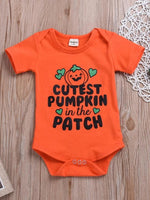 Baby Girls' Cute Pumpkin Short Sleeves Bodysuit - davidissimo