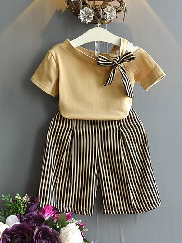 Girls' Striped Short Sleeve Clothing Set