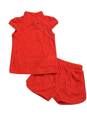 Girls' Chinoiserie Short Sleeve Clothing Set