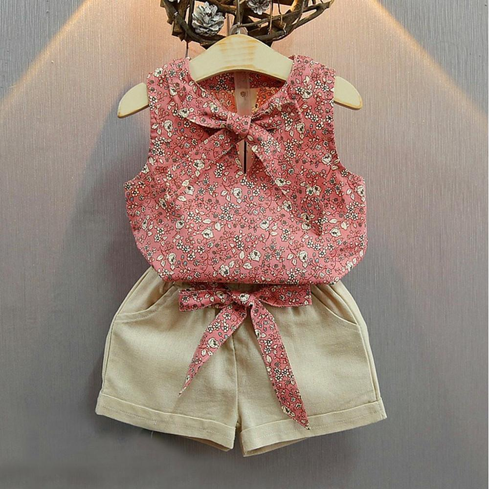 Girls' Casual Vintage Sleeveless Clothing Set - davidissimo