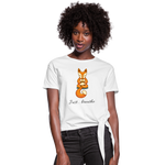 Meditation Fox Knotted T-Shirt - white