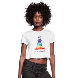 Meditation Girl Cropped T-Shirt - white