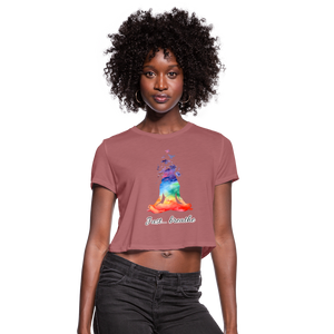 Meditation Girl Cropped T-Shirt - mauve