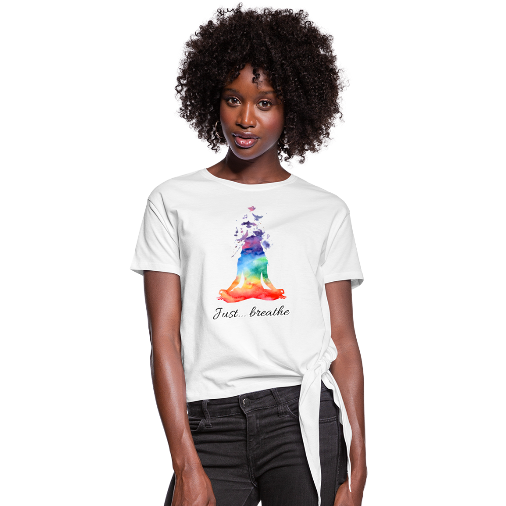 Meditation Girl Knotted T-Shirt - white