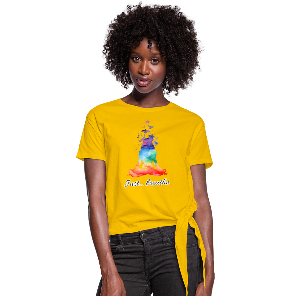 Meditation Girl Knotted T-Shirt - sun yellow