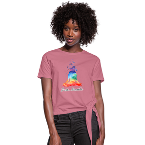 Meditation Girl Knotted T-Shirt - mauve