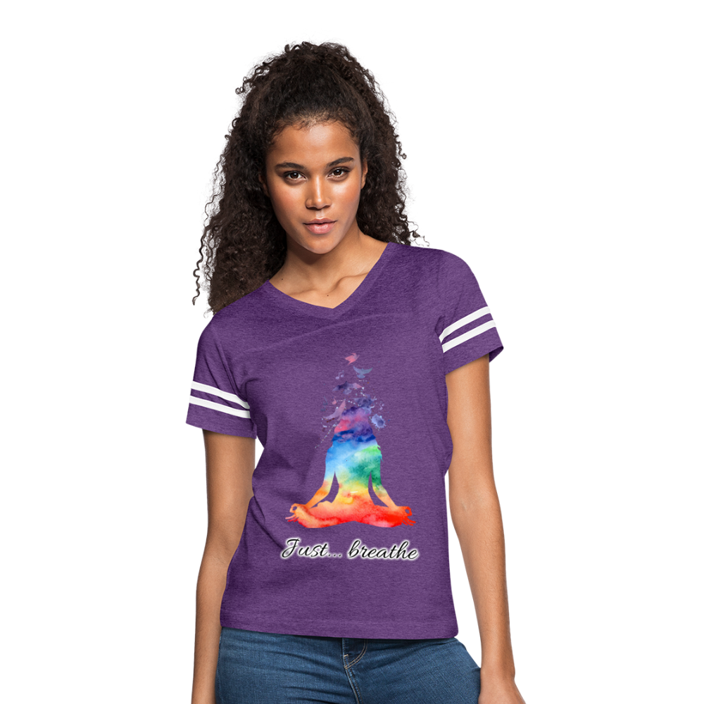 Meditation Girl Vintage Sport T-Shirt - vintage purple/white