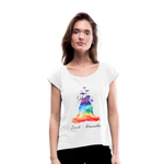 Meditation Girl Roll Cuff T-Shirt - white