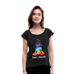 Meditation Girl Roll Cuff T-Shirt - black