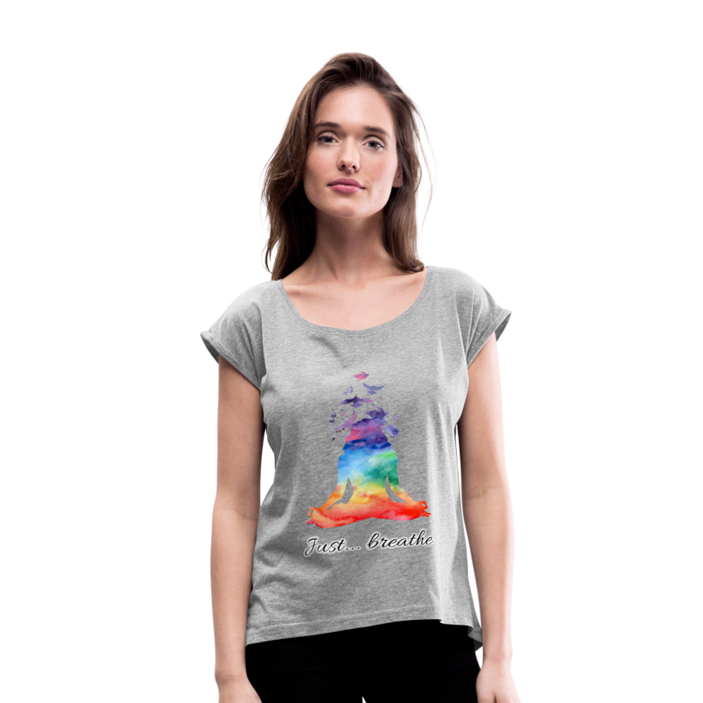 Meditation Girl Roll Cuff T-Shirt - heather gray