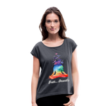 Meditation Girl Roll Cuff T-Shirt - navy heather