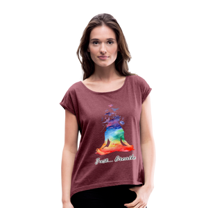 Meditation Girl Roll Cuff T-Shirt - heather burgundy