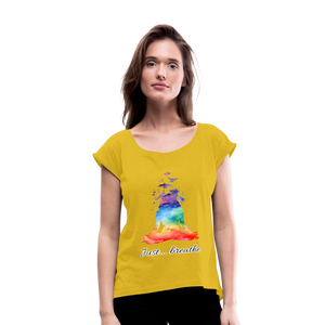 Meditation Girl Roll Cuff T-Shirt - mustard yellow
