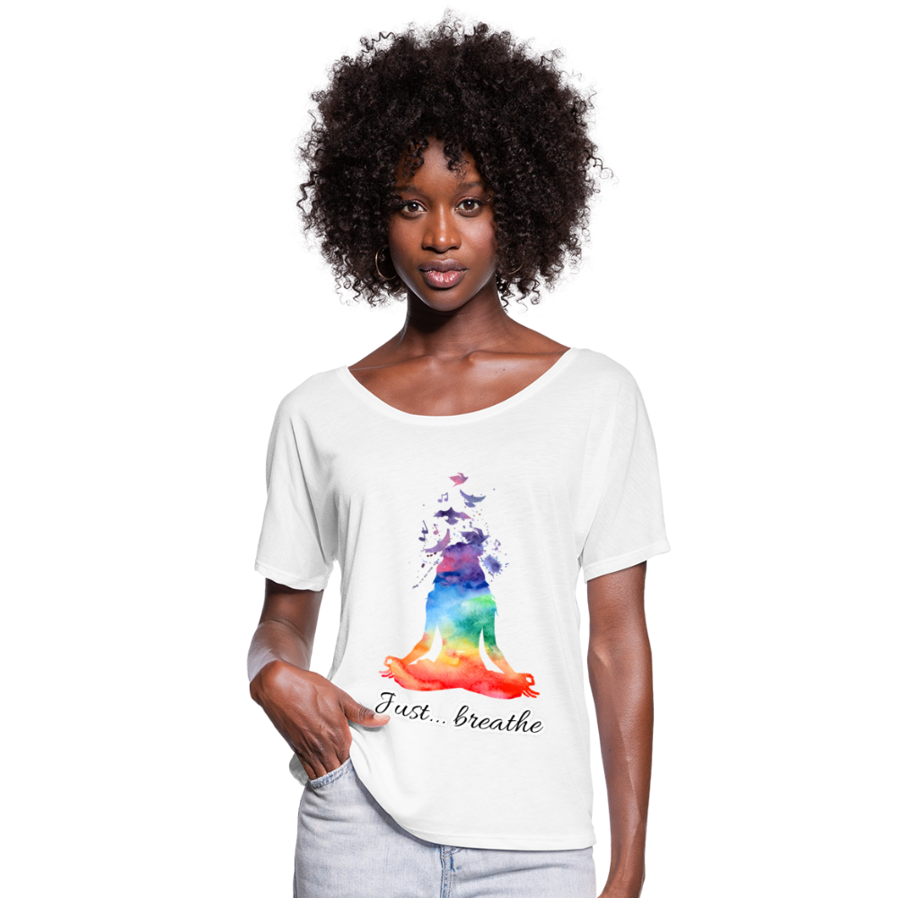 Meditation Girl Flowy T-Shirt - white