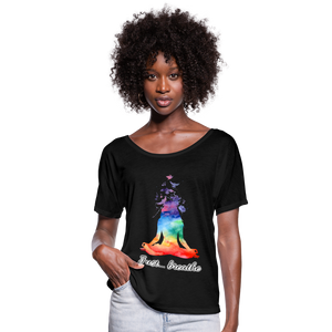 Meditation Girl Flowy T-Shirt - black