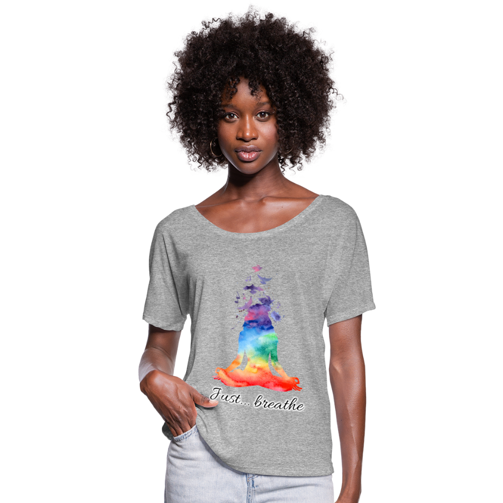 Meditation Girl Flowy T-Shirt - heather gray