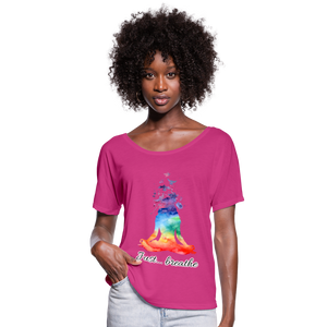 Meditation Girl Flowy T-Shirt - dark pink