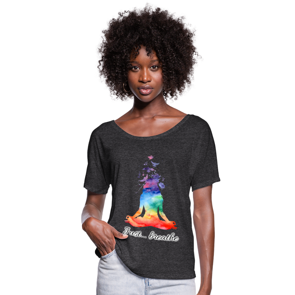 Meditation Girl Flowy T-Shirt - charcoal gray
