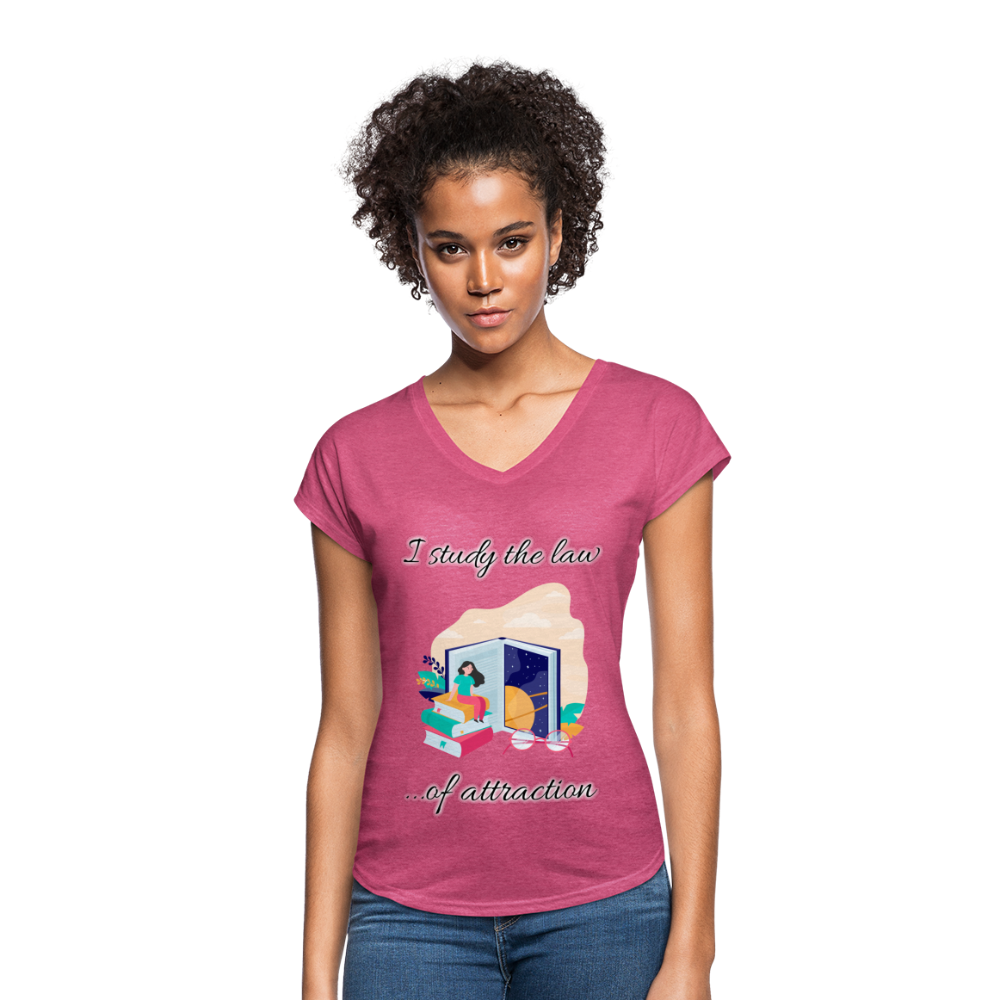 Law of Attraction Tri-Blend V-Neck T-Shirt - heather raspberry