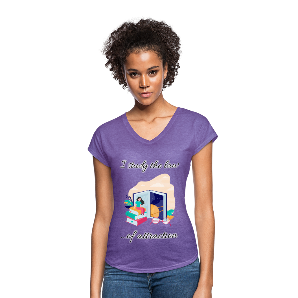 Law of Attraction Tri-Blend V-Neck T-Shirt - purple heather