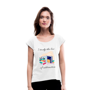 Law of Attraction Roll Cuff T-Shirt - white