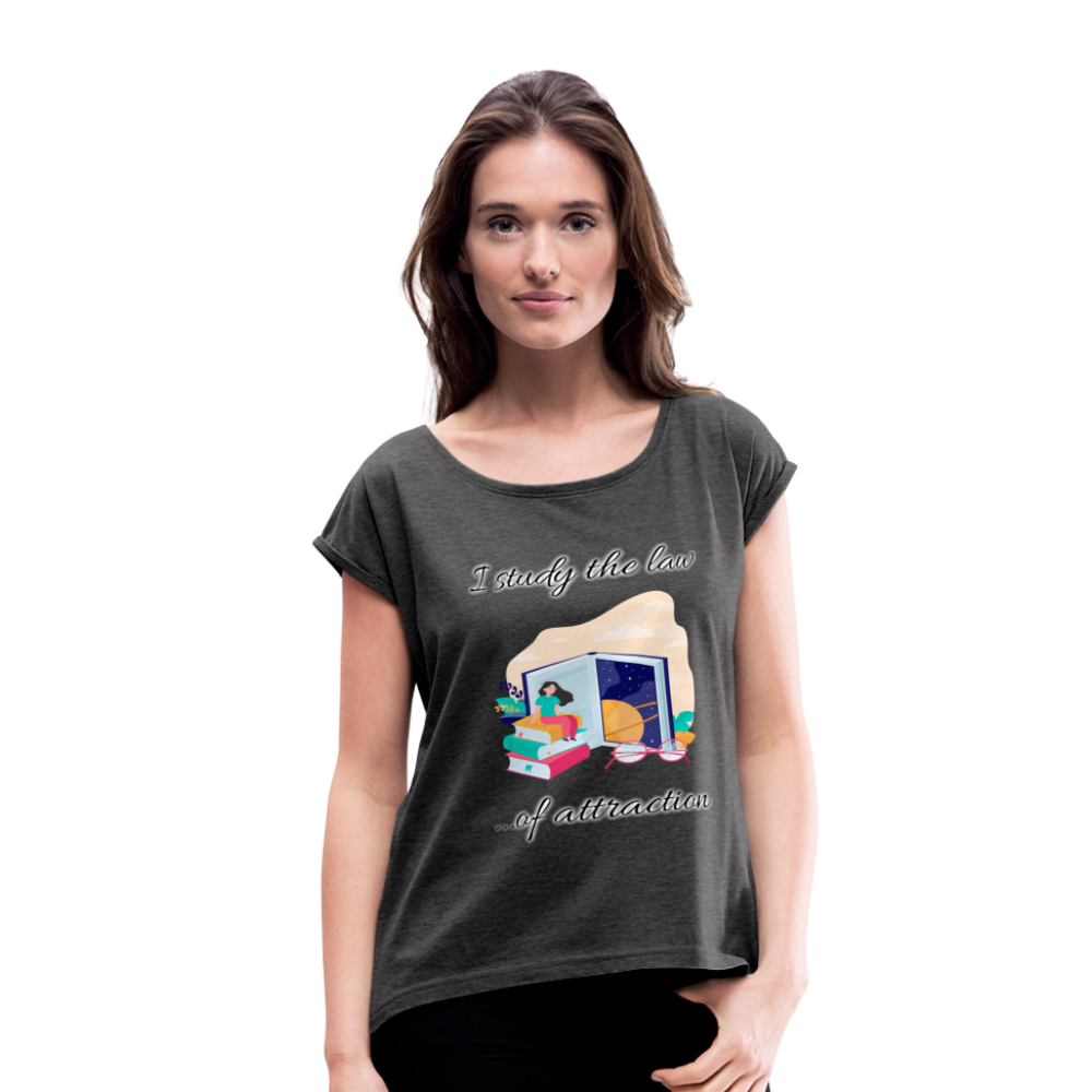 Law of Attraction Roll Cuff T-Shirt - heather black
