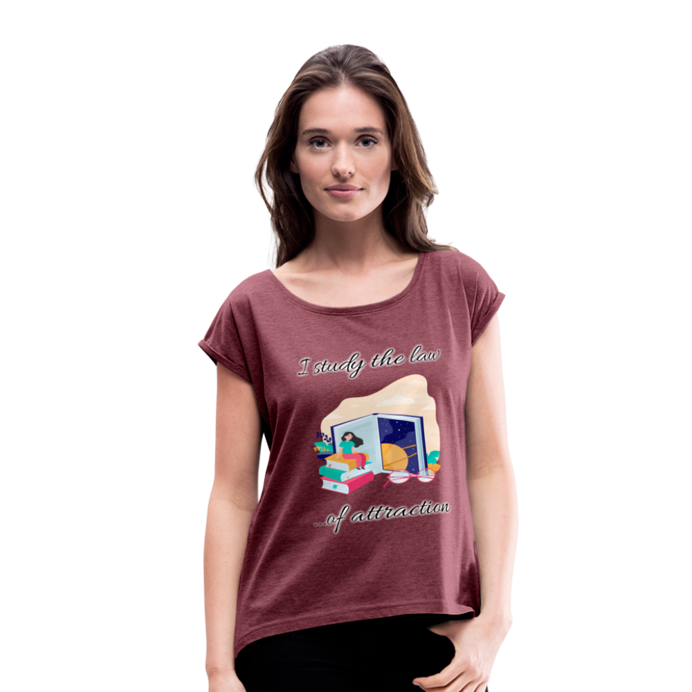 Law of Attraction Roll Cuff T-Shirt - heather burgundy