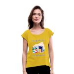 Law of Attraction Roll Cuff T-Shirt - mustard yellow