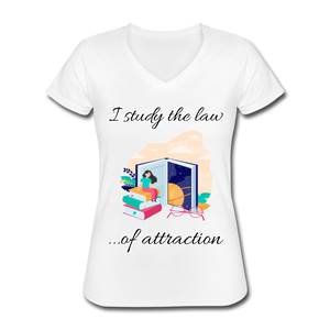 Law of Attraction V-Neck T-Shirt - white