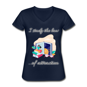 Law of Attraction V-Neck T-Shirt - navy