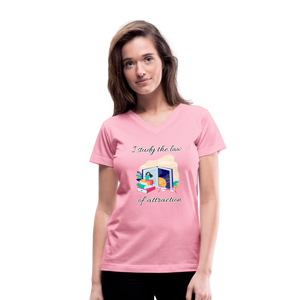 Law of Attraction V-Neck T-Shirt - pink