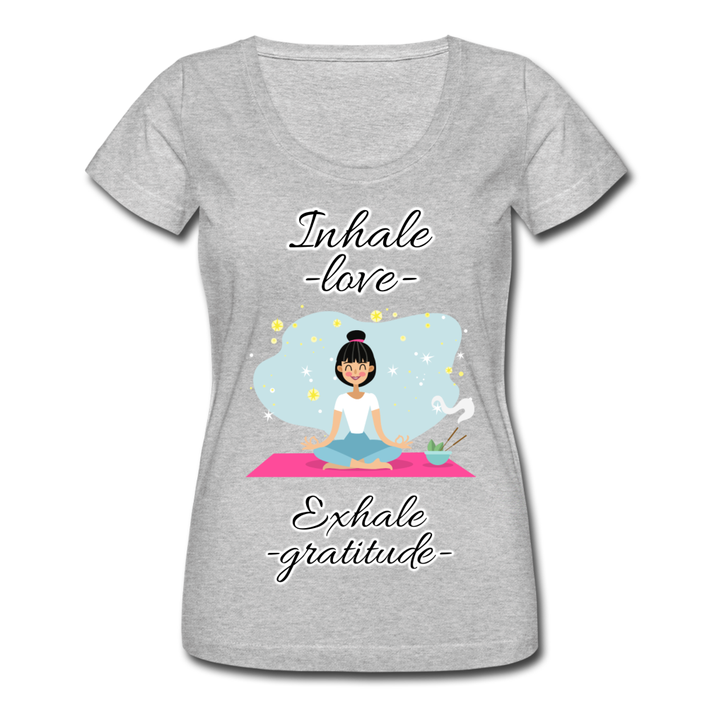 Inhale Love Exhale Gratitude Scoop Neck T-Shirt - heather gray