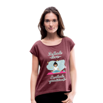 Inhale Love Exhale Gratitude Roll Cuff T-Shirt - heather burgundy