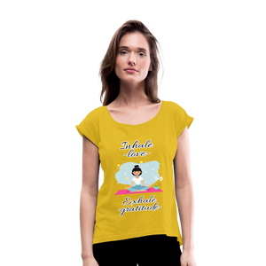 Inhale Love Exhale Gratitude Roll Cuff T-Shirt - mustard yellow