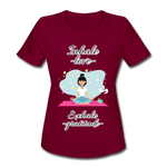 Inhale Love Exhale Gratitude Moisture Wicking Performance T-Shirt - burgundy