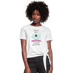 Inhale Love Exhale Gratitude Knotted T-Shirt - white