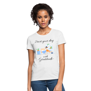 Start Your Day With Gratitude T-Shirt - white