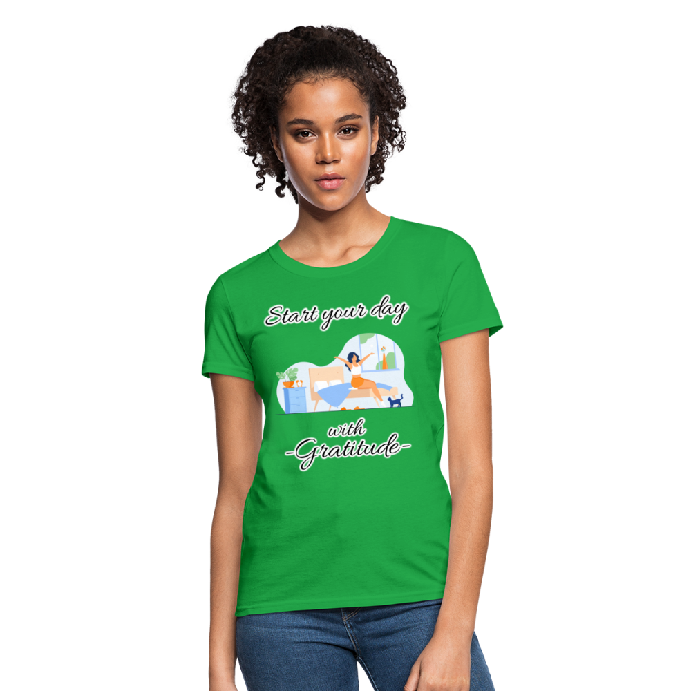 Start Your Day With Gratitude T-Shirt - bright green