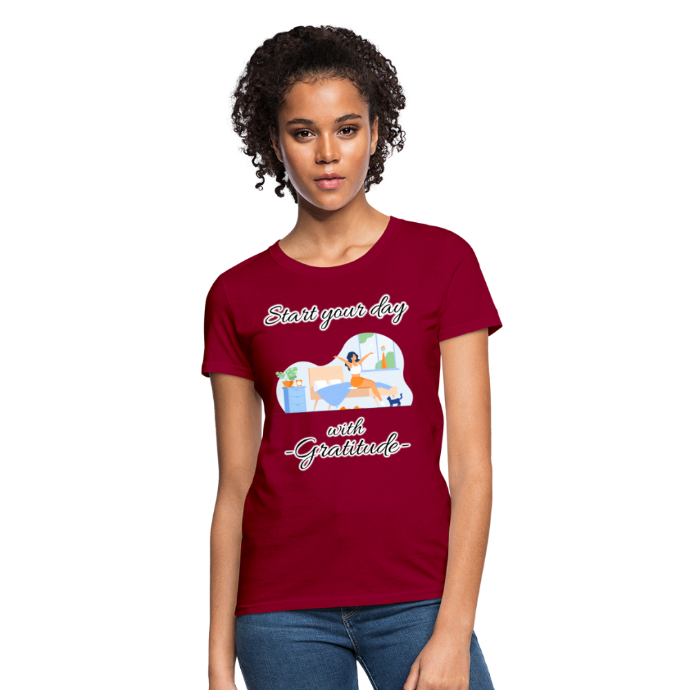 Start Your Day With Gratitude T-Shirt - dark red