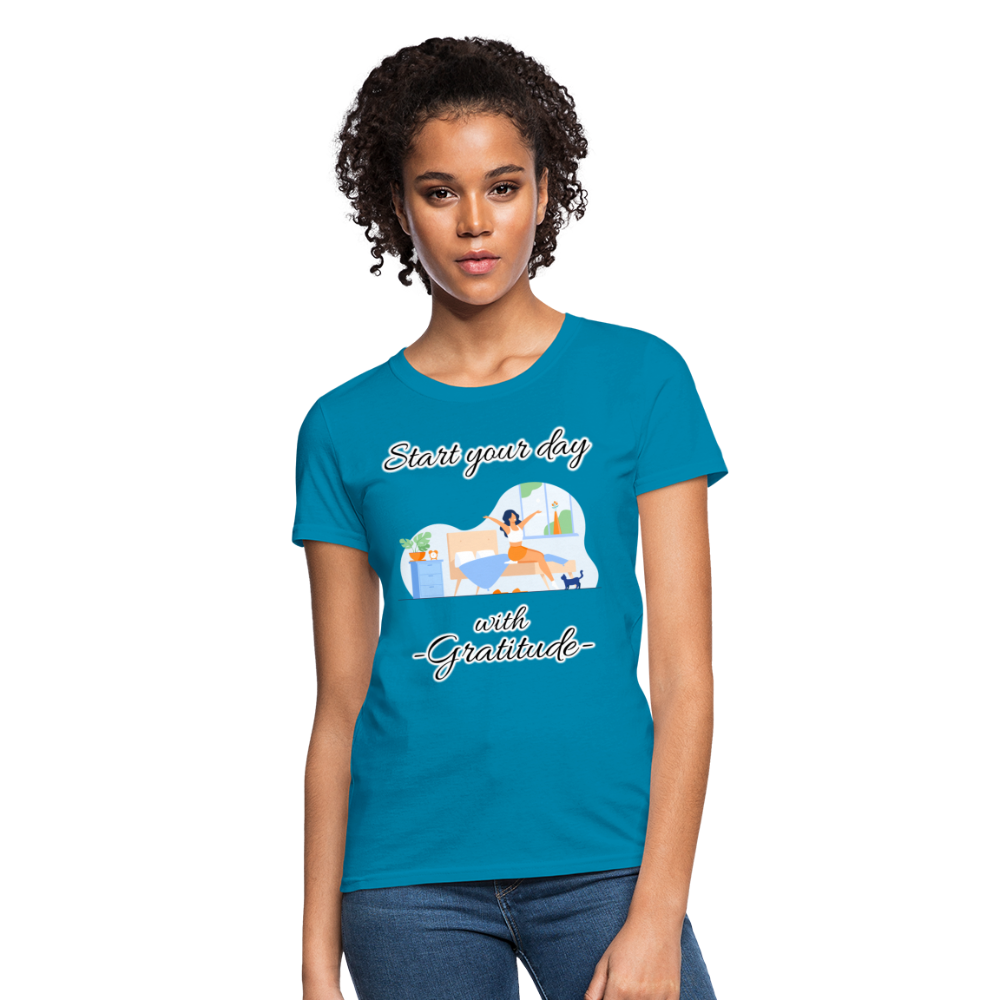Start Your Day With Gratitude T-Shirt - turquoise