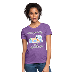 Start Your Day With Gratitude T-Shirt - purple heather