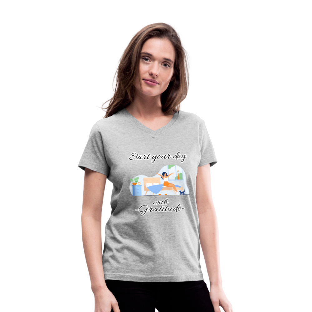 Start Your Day With Gratitude V-Neck T-Shirt - gray