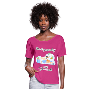 Start Your Day With Gratitude Flowy T-Shirt - dark pink