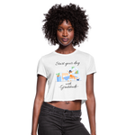 Start Your Day With Gratitude Cropped T-Shirt - white