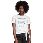 Start Your Day With Gratitude Knotted T-Shirt - white
